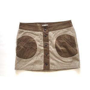 Vince Button Front Wool Blend Skirt